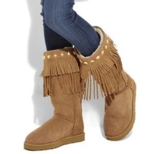 UGG Jimmy Choo Tall Sora Fringed Boots Brown